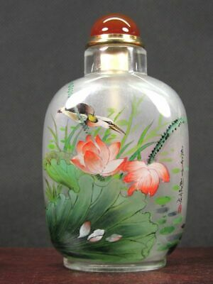 Fine Chinese Lotus Flower Bird Inside Hand Painted Man Made Crystal Snuff Bottle
