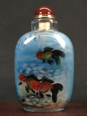 Fine Chinese Goldfish Carp Inside Hand Painted Man Made Crystal Snuff Bottle