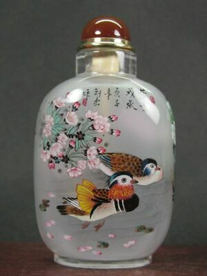 Fine Chinese Mandarin Duck Inside Hand Painted Man Made Crystal Snuff Bottle