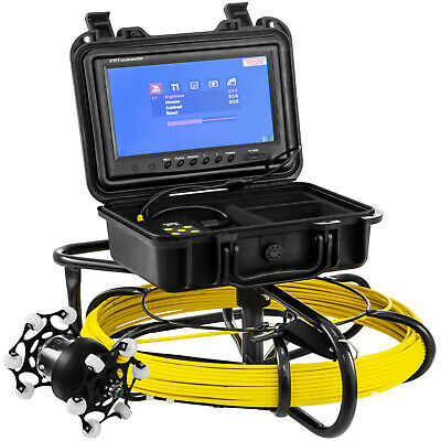 """100' Pipe Inspection Camera 9"""" LCD Steel Housing Length Scale Sliding Guide"""