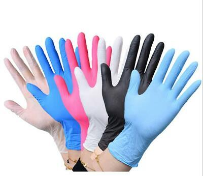 100 Disposable Powder Free Latex Free Clear Vinyl Gloves Nitrile Blue Pink SALE!