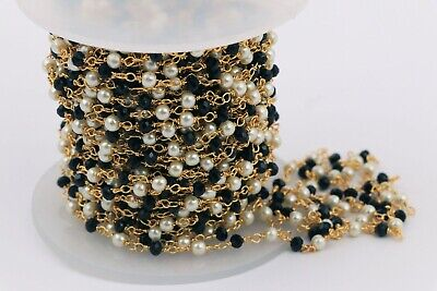 3,5,10 Feet Black Hydro Pearl Beaded Rosary Jewelry Making Chains Craft Supply