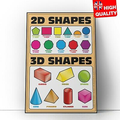 Kids 2D 3D Shapes Children Educational Poster Chart Home School Learn Colourful