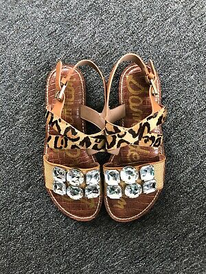 Sam Edelman Dorsey Genuine Cow Hair Sandal Leopard Print Womens Sz 9 $160 New