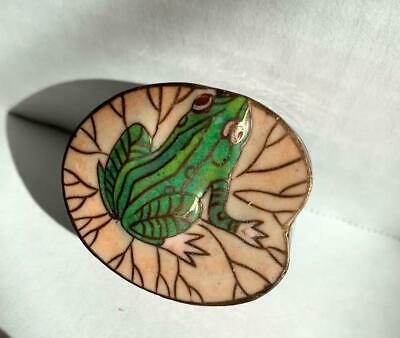 Chinese Cloisonne Frog Lily Pad Jing Tai Blue Ware Snuff Pill Box with Lid