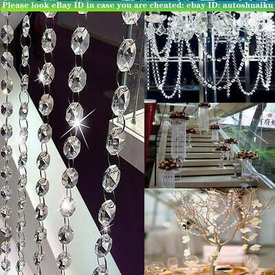 50 Chandelier Light Crystals Droplets Glass Beads Wedding Drops 14Mm Prism Parts