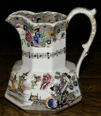 """Antique English Transferware Octagonal Pitcher Jug in Chinese Temple Pattern 7"""""""