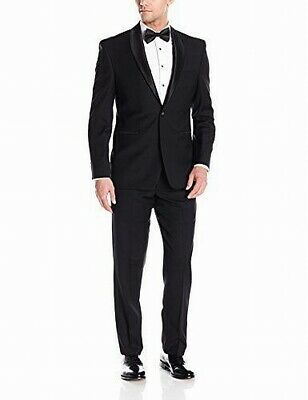 Vince Camuto Mens Black Size 46R Slim Fit One Button Wool Suit $240 #725