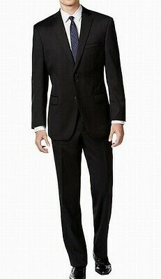 Calvin Klein Mens Suit Black Size 40 Notch-Collar Two Button Wool $369 357