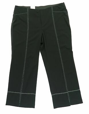 INC Womens Pants Black White Size 20W Plus Seamed Straight Leg Stretch $89 250
