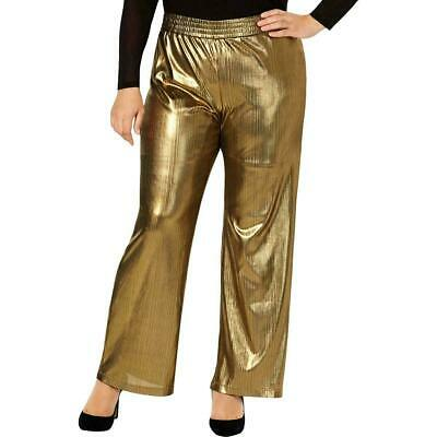 NY Collection Womens Dress Pants Gold Size 1X Plus Shimmer Wide Leg $54 241