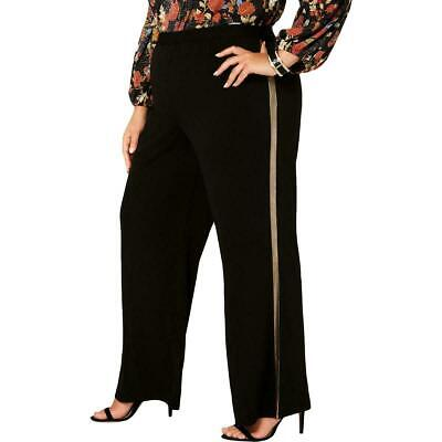 NY Collection Womens Pants Black Size 2X Plus Shimmer-Striped Stretch $54 299