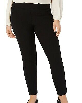 Alfani Women's Pants Black Size 18W Plus Pull On Velvet Stripe Stretch $79 #436