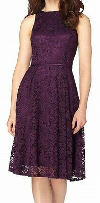 Tahari By ASL Womens Dress Purple Size 10 Pleated Lace Fit & Flare $138 227