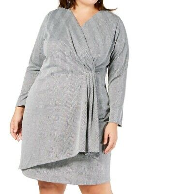 NY Collection Womens Sheath Dress Gray Size 1X Plus Surplice Shimmer $70 144