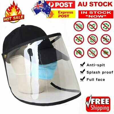 Baseball  Cap + Protective Clear Mask Saliva-proof  Anti-spatter and Spit Hat AU