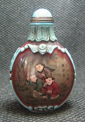 Chinese Glass Traditional Inside-drawing Tong Qu Design Snuff Bottle----
