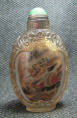 Chinese Glass Traditional Inside-drawing Dragons Design Snuff Bottle---