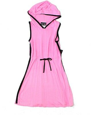 Paper Doll Pink Black Size 5 Girl's Hooded Drawstring Striped Dress $22- #844