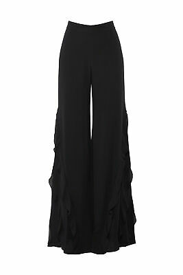 Alexis Women's Black Size XS Ruffle Trim Wide Leg Dress Pants $575- #648
