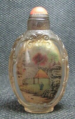 Chinese Glass Traditional Inside-drawing Landscape Design Snuff Bottle------