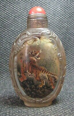 Chinese Glass Traditional Inside-drawing Tigers Design Snuff Bottle-----*