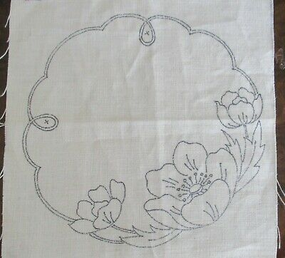 16 Pieces Vintage Circular Linen D'oileys With Poppies To Embroider