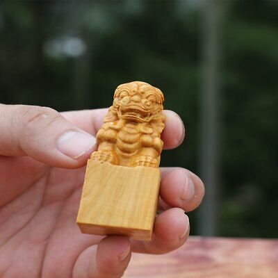 Boxwood wood carving Lion seal Statues solid wood carving crafts H6.5cm