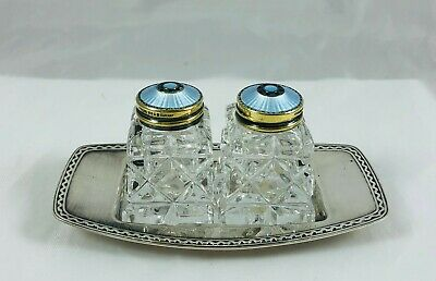 MCM Norway Prydz Sterling Guilloche Enamel Glass Salt Shakers & SP Andersen Tray
