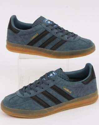 ADIDAS GAZELLE INDOOR Trainers Grey Blue, gum sole, retro