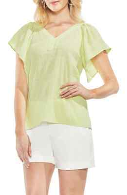 Vince Camuto Womens Top Green Size Small S Flutter Sleeve Smocked V-Neck $69 282