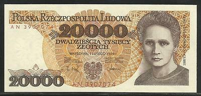 Poland P-152a 20,000 Zlotych 1989 Unc