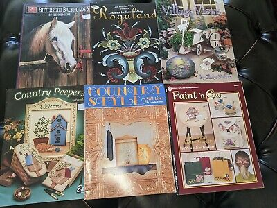 6 Decorative Painting Pattern Book Lot country rosemailing
