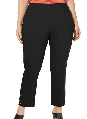 JM Collection Women's Pants Black Size 20W Plus Pull On Ankle Stretch $64 #350