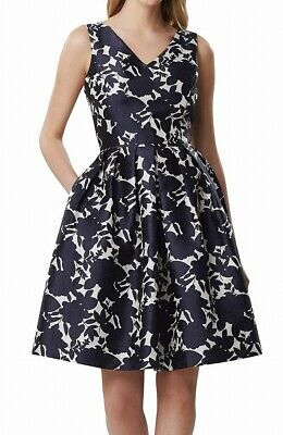 Tahari By ASL Womens A-Line Dress Blue Size 16 Floral Jacquard Pleated $148 582