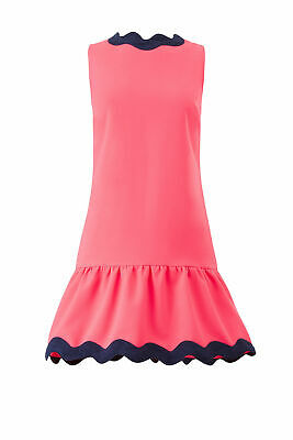 Sail to Sable Women's Dress Blue Pink Size 0 Shift Scalloped-Trim $275- #740