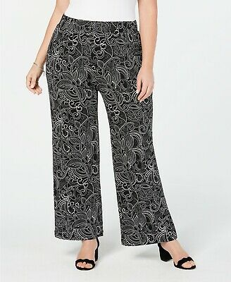 NY Collection Womens Pants Black Size 2X Plus Pull-On Printed Stretch $54 147
