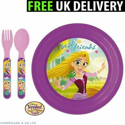 Girls Childrens Toddler Baby     Matching Princess Dinner Plate And Cutlery Set