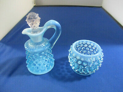 VTG Fenton Blue Opalescent HOBNAIL Oil Cruet & Toothpick Holder