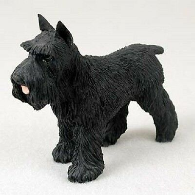 SCHNAUZER Dog HAND PAINTED FIGURINE Resin Statue BLACK CROPPED Puppy COLLECTIBLE