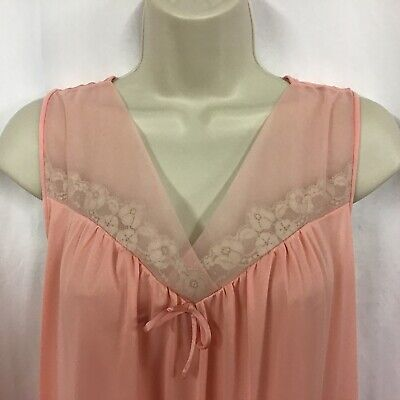 Vintage Vanity Fair Sleeveless Peach Floral Lace Tulle Nightgown Nightie Silky M