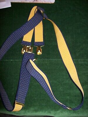 Men's Elasticated Braces- Navy Blue with Yellow Dots-Clip On-Good used condition