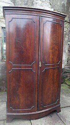 Georgian Style Flame Mahogany Bow-Fronted Wardrobe