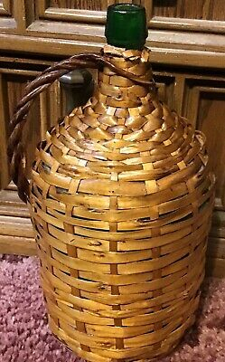 "Antique Country French Wicker Wrapped Glass Wine 14"" Tall & 6 1/2"" Wide Jug"