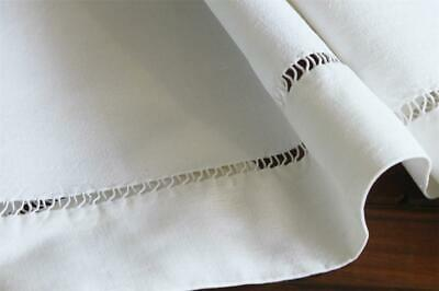 Double Bed Linen Flat Sheet Vintage French Hand stitched Decorative Ladder