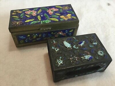2 Antique Chinese Canton Enamel on Brass Box & Cigarette Match Holder