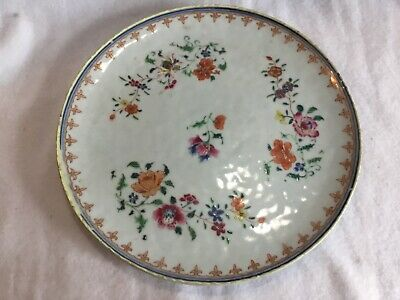 Antique Chinese Export Porcelain Famille Rose Verte Plate Dish