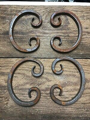 Set Of 4 Cast-Iron Ornate Scroll Decoration Welding Crafts Rustic Rusty 5-1/8""