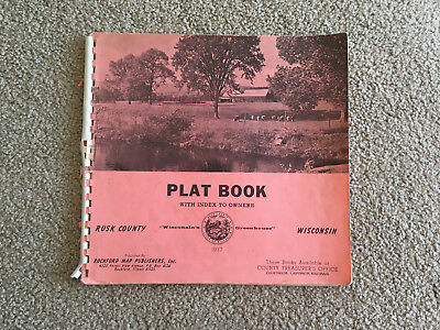 PLAT BOOK RUSK COUNTY w/ index to OWNERS  WISCONSIN 1977 MAPS advertising TOWNS