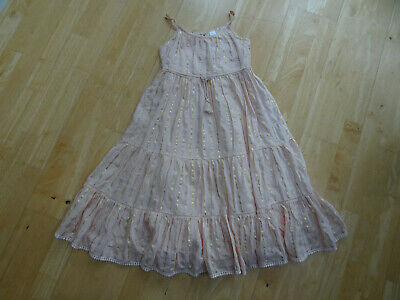 NEXT girls pink gold stunning summer maxi dress AGE 8 YEARS EXCELLENT CONDITION
